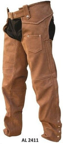 MENS PREMIUM BUFF BROWN BUFFALO BRAIDED LEATHER BIKER MOTORCYCLE CHAPS