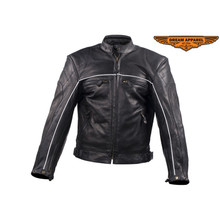 Men's Reflective Vented Speedster Racer Biker Jacket