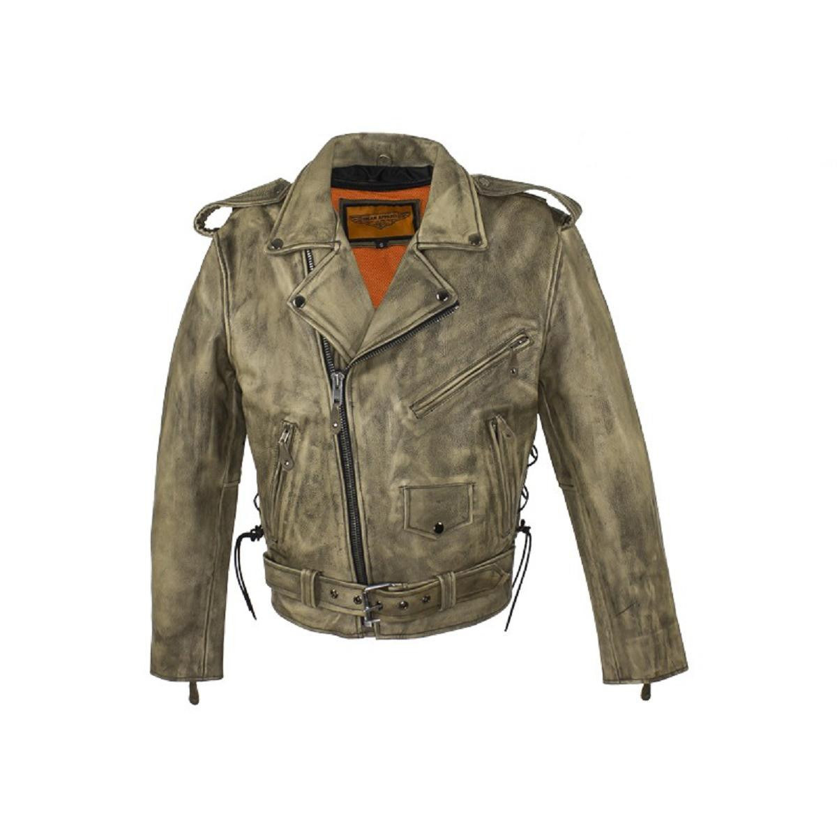 9e0102c269 Mens Distressed Brown Leather Biker Jacket WithLeather Side Laces and  Inside Gun Pockets. Shipping to US addresses this month is $15.