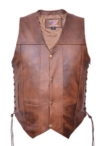 Cafe Brown 10 Pocket Vest in Premium Buffalo Leather (#1 Seller)