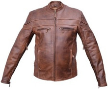 1A Cafe Racer Brown Mens Leather Vented Biker Jacket