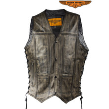 10 Pocket Distressed Brown Leather Motorcycle Biker Vest Men's