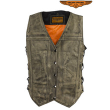 Distressed Brown Women's Leather Motorcycle Vest With Side Laces gun pocket