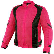 Women's Impulse Black/ Hot Pink Mesh Tri-Tex Armored Motorcycle Jacket Xelement