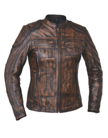 2A Distressed Nevada Brown Premium Leather Motorcycle biker Jacket