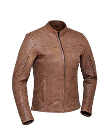 2A Brown Arizona Women's Premium Leather Biker Motorcycle Jacket Reg $239