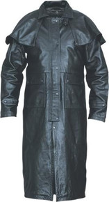 Duster Black Buffalo Leather jacket with Zip out Lining