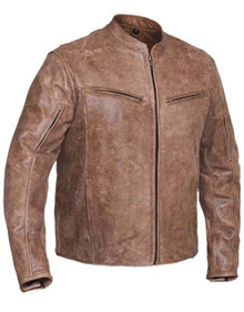 1A Arizona Brown Mens Vented Leather Motorcycle Biker Jacket with Gun Pocket