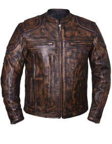 Brown Mens Nevada Vented Leather Motorcycle Biker Jacket with Gun Pocket