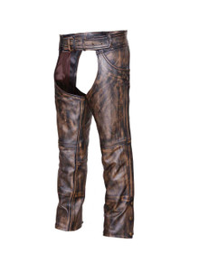 Brown Mens Distressed look Leather Motorcycle Biker Chaps w Jeans Pocket