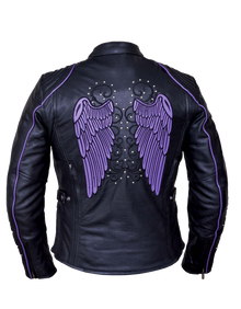Black and Purple Women's Vented Embroidered Leather Motorcycle biker Jacket