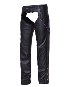 WOMEN'S PREMIUM LEATHER BLACK W/ PURPLE STRIPE MOTORCYCLE BIKER CHAPS