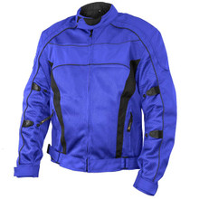"Conquest Men's Blue/Black Tri-tex/Mesh Armored Motorcycle Jacket with Gun Pocket"" by Xelement"