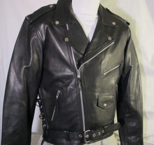 1A Black Drum Dyed Premium Soft Naked Leather Motorcycle Biker Jacket $229