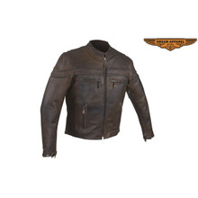 Brown Naked Cowhide Leather Motorcycle Jacket