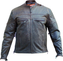 2A Mens Rustic Brown Leather Biker Vented Speedster Jacket