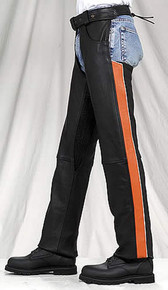 NEW Womens PREMIUM LEATHER BLACK PURPLE STRIPE MOTORCYCLE CHAPS RETAIL $200