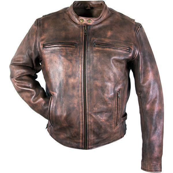 Men S Uproar Distress Brown Premium Leather Motorcycle Jacket With