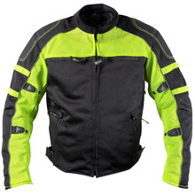 XS6550 CE Armored 'Fumes' Men's Black and High-Viz All Weather Mesh Motorcycle Jacket