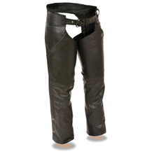 Milwaukee Leather Ladies Low Rise Black Classic Chaps with Hip Pocket