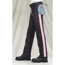 Black Pink Stripe Women's Premium Cowhide Chaps