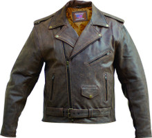 1 Mens Distress Rustic Finish Brown Buffalo Leather Biker Jacket