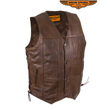 Mens 10 Pocket Brown Motorcycle Leather Vest With Gun Pockets
