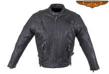 Men's Premium Leather Vented Black Speedster Jacket with Gun Pocket