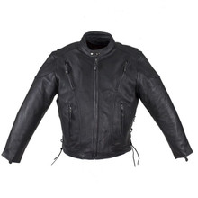 Men's Premium Naked Leather Racer Biker Jacket Front/Back Zip vents