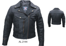 Premium Naked Leather vented women's  Motorcycle Jacket