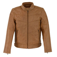 1A  Men's Saddle Leather Stand Up Collar Leather Jacket with Side Buckles & Lower Back Padding