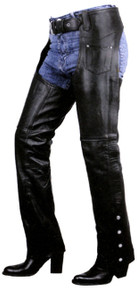 Premium Leather Womens Low Cut Motorcycle Chaps Retail $159