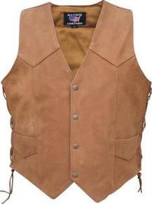 Brown Premium Nubuck Leather Single panel back Laced Biker Vest Men's