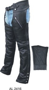 Black Premium Men's Women's Chaps with Insulated Zip out Lining