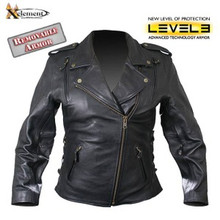 Black Classic Ladies Beltless Armored Cowhide Motorcycle Biker Leather Jacket  by Xelement