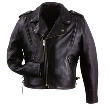 "Cool Rider"" Black Vented Leather Mens Motorcycle Biker Jacket Xelement"