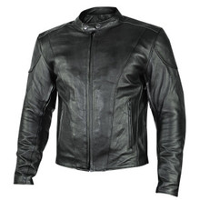 Black  Renegade Leather Motorcycle Biker Jacket W/ Gun Pockets by Xelement