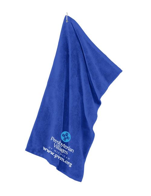 Royal Blue Microfiber Golf Towel with PVM.ORG