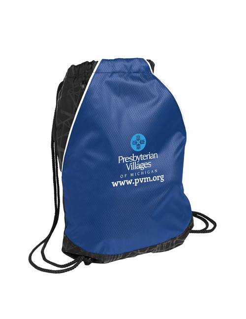 Royal Blue Cinch Bag with Web Address