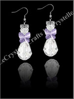 Swarovksi Angel Earrings-Purple Butterfly