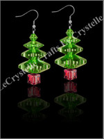 Swarovksi 3Tier Tree Earrings -Red