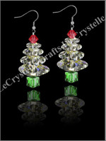 Swarovksi 3Tier Tree Earrings -Red/green