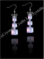 Swarovksi 3Tier Present Earrings -Purple