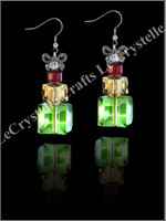 Swarovksi Present Earrings -Red/Green