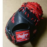 "Rawlings Heart of the Hide Black/Red 12.75"" First Base Glove (Right Hand Throw Only)"
