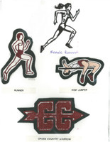 Track and Field - Running(male or female runner), High Jump, Cross Country with an arrow