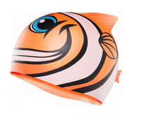 TYR KID'S CHARACTYR HAPPY FISH SILICONE SWIM CAP - CLOWN FISH