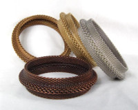"3/4"" Wide Ridged Metal Mesh Bangle"
