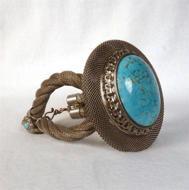 Antique Silver with Turquoise Matrix