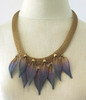 Feather Necklace shown in gold with Passion and Teal tips.
